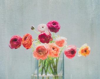 entryway decor, rustic bouquet print, ranunculus bouquet, boho chic print, bouquet still life, pink decor, square print, large wall art