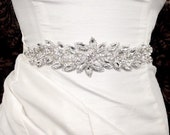 BEAUTIFUL GENUINE CRYSTAL Rhinestone Bridal Belt with 1 Inch Sheer Tie