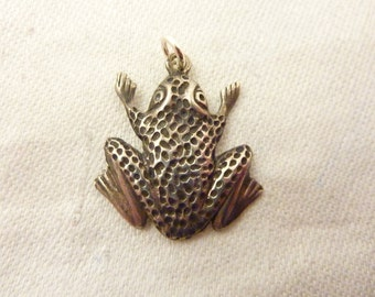 Vintage Sterling Silver Frog Charm