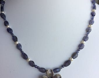 Necklace — Hill Tribe Silver Lotus Blossom, Blue Kyanite and Iolite