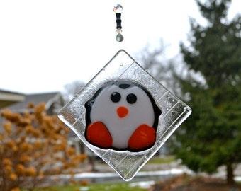 Arty the Arctic Penguin Fused Glass Suncatcher