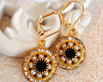 Art Deco Jewelry - Black - Victorian Earrings - Crystal Cluster Earrings - AURORA Classic