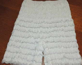 Pristine S-M Lacy white and silver Square Dance Bloomers