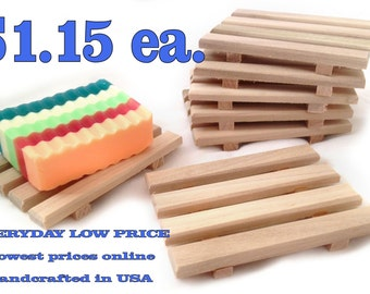 SALE - 60 natural poplar wood soap dishes JUST 1.15 each