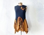 Blue Bohemian Top Sleeveless Tunic Re-Used TShirts Lagenlook Clothes Fit Flare Shirt Artsy Fashion Funky Style Upcycled Clothing M 'CINNABAR