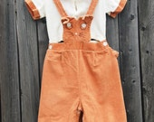 Vintage 60s CORDUROY Baby Overall Set Caramel & White CAT 2 Piece Outfit Vintage Toddler Overalls Baby Overalls