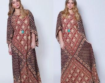 Vintage 70s Cotton Caftan KAISER Caftan Boho Maxi Dress BLOCK PRINT Caftan Angel Sleeve Caftan