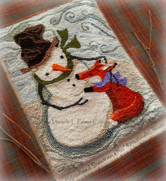 Woodland Snowman Fox Winter Red Silver Punch Needle Embroidery