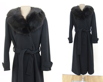 COAT SALE! Vintage Black Wool Coat with Fur Trim S/M 1980s // belted long 80s princess