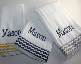 Embroidered Personalized Burp Cloth Set of 3 with Ribbon-CHEVRON- Yellow, Navy, & Gray