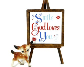 Vintage Tile | Decorative Tile | Religious Saying | Smile God Love You | Wooden Easel | Tile Sign | Home Decor Sign | Red White Blue | Japan