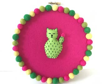 Embroidery hoop art, Catcus hoop, cute cactus cat, cat lover decor, cat wall art, kawaii cat multicolor pompoms, hand sewn OOAK HibouDesigns