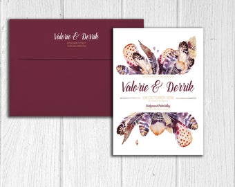 Bohemian Feathers Design Wedding Invitation Set - Digital Files Only