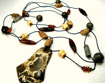 Beads w Pendant Necklace, Stone,  Horn, Ceramic, All Neutral Tans, Beige n Browns on Double Brown Fiber Cording