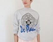 1990s DePaul University Sweatshirt   Vintage 90s Blue Demons Chicago College Sweatshirt   Medium M
