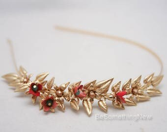 Gold Metal Leaf Headband with Red and Gold Metal Flowers Leaf Tiara Golden Wedding Headband Fashion Headband Metal Hairband Hair Accessory