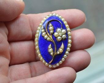 Georgian 10K Enamel Pearls & Diamond Brooch