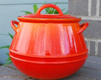 Vintage Descoware Flame Orange Soup Pot Rare Bean Pot 3 Quart