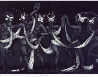 "Etching print - ""Dancing Fates"" - mysterious original art. Indigo, purple, monochrome. Masquerade dance by Nancy Farmer."