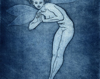 "Etching print - ""Fairy"" - Simple female nude, in fairy form. Original art by Nancy Farmer, UK. Prussian blue monochrome print."