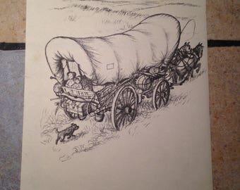 Laura Ingalls Wilder Little House on the Prairie Antique Illustration by Garth Williams