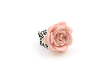 SALE Regularily 9.95 - Powder Pink Rose Ring - Choose Your Own Adjustable Band - Felt Flower - brass, copper or silver