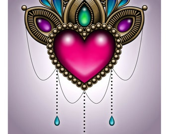 "SALE Regularly 14.95 - Heart of Stones 8"" x 10"" Art Print - Victorian Tattoo Style Dangling Gems and Jewels"