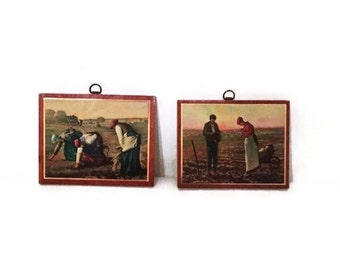2 Vintage Wall Plaques, Jean Francois Millet Wall Art, Mid Century Decor, Wood Wall Plaques, The Gleaners Wall Art, The Angelus Wall Art