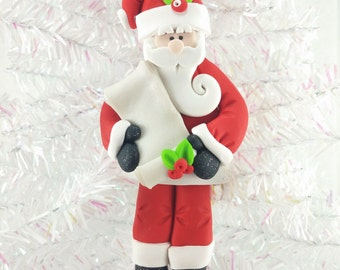 Personalized Santa Ornament - Santa with List Ornament - Nice List Ornament - Naughty List - Santa Collectible - Santa Collector - 11713