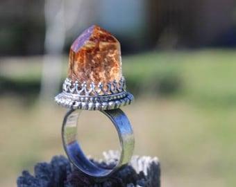 Lodolite Quartz Crystal Point Ring