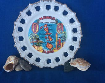 Vintage Hawaii Plate with Hula Girl, Surfer & Surf Board, Palm Trees, Tiki, Islands Aloha Souvenir 70's 80's