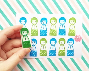 kokeshi doll stamp, baby stamp, child stamp, girl boy hand carved rubber stamp, baby shower family holiday crafts, stamps by talktothesun