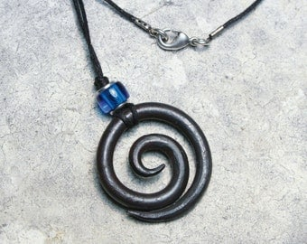 Blacksmith Spiral Necklace, Hand Forged Iron, Iron Jewelry, Spiral Necklace