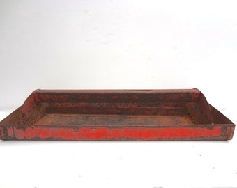 Vintage Red Metal Tray For Tool Box Storage Organization Rusty Distressed Salvage