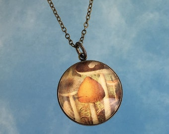 Forest Mushrooms Necklace -  Fungus illustration glass charm on antiqued brass chain - sepia tones - retro style- free shipping USA