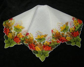 "Vintage 13.5"" Scalloped Fall Autumn Leaves Leaf Floral Wedding Favor, Craft Handkerchief - 9794"