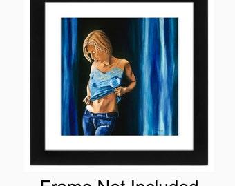 Sensual Bedroom Art, Sexy Bedroom Art, Female Figure, Sensual Figurative, Art Print, Girl in Blue Cami, 11 x 11, Bathroom Art, Figurate Art