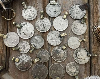 Vintage Kuchi Coins: Large Mixed Size Coin Charms, 10 Coins / Jewelry Making, Belly Dancing, Tribal Pendants, Nomadic, Gypsy, Boho Decor