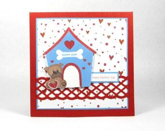 Valentines cards, boys valentines, dog, puppy, kids valentines card, childrens valentines, personalized card