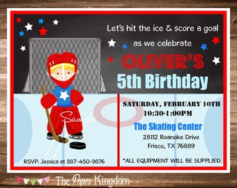 Ice Hockey Invitations, Hockey Birthday Invitations, Printable Boy Hockey Invitation, Printable Invitations