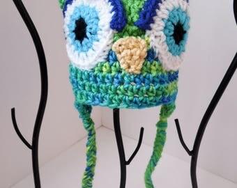Owl Hat, Little Hoot, Infant hat, Spring Green, Banana Berry  Owl Baby Hat, Baby Girl Photo Prop