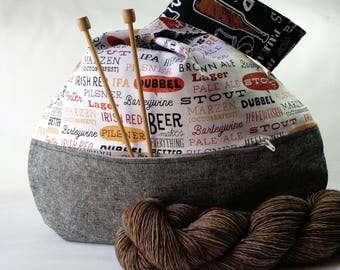 Beer Lovers knitting crochet project bag - sock shawl scarf Japanese knot bag with pocket - black linen - guys men knit too - free pattern