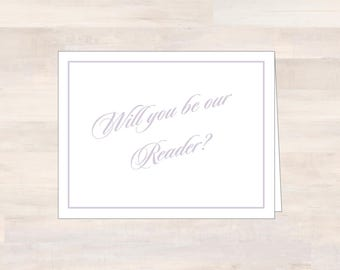 Wedding Party Cards, READER, Will You Be Our Reader, Asking Reader Card, Ask Reader Card, Wedding Stationery, Wedding Note Card, Readings