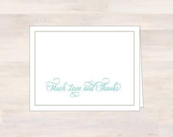 Blank Thank Yous, MUCH LOVE and THANKS Cards, Bridal Shower Thank You, Thank You Gift, Wedding Thank Yous, Blank Note Card, Cards Sets of 10