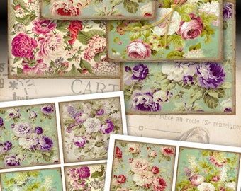 ArtCult Printable goods, FLORAL FRENCH TAPESTRY digital download, antique style paper for coasters, scrapbook, decoupage, craft projects