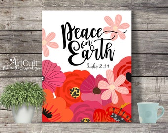 "Printable wall art bible verse ""PEACE ON EARTH"" Luke 2:14. Digital download prints 8""x10"" and 11""x14"" artworks for home decor by ArtCult"