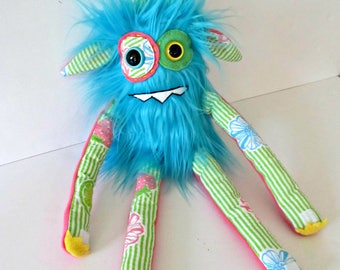 RESERVED for Lisa Plush Monster - OOAK Handmade Monster Plush Toy - Hand Embroidered Stuffed Monster - Turquoise Blue Faux Fur Monster - Cut