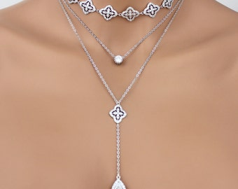 Layered necklace, Choker necklace, Layered choker, Layered necklace set, Rose Gold necklace, Y necklace, Layering necklace, Dainty necklace