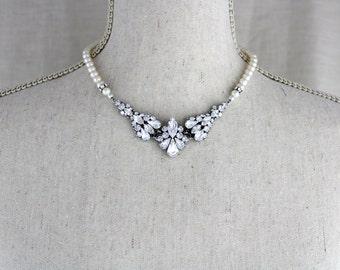 Swarovski Crystal necklace, Wedding necklace, Bridal jewelry, Pearl necklace, Swarovski necklace, Statement necklace, Couture bridal jewelry