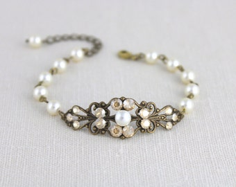 Antique gold bracelet, Bridal bracelet, Bridal jewelry, Wedding bracelet, Wedding jewelry Swarovski bracelet Crystal bracelet Pearl bracelet